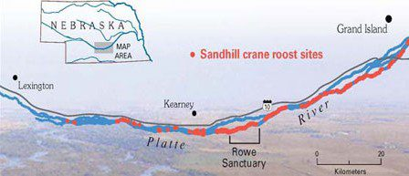 map of crane migration stopover sites along platte river