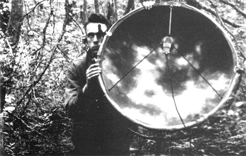 James Tanner recording in the Singer Tract, Louisiana, 1935. Arthur Allen Collection, Cornell Lab of Ornithology