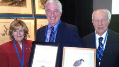 2013 Allen Award recipient Robert Ridgely, center, with two past recipients, Linda Macaulay and Victor Emanuel. P