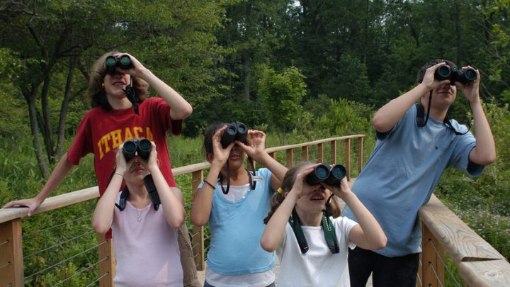 kids looking through binoculars