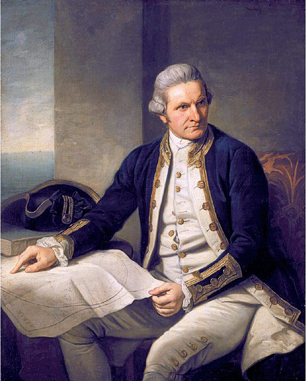 Famed explorer Captain Cook (left) was the first to land on the island, in 1775, and dubbed it the Isle of Georgia in honor of King George III.Painting by Nathaniel Dance-Holland/Wikimedia Commons.