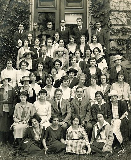 "Professor Arthur ""Doc"" Allen (second row, fourth from the left) poses with his students in 1921, just six years after founding the Cornell Lab of Ornithology. Many early leaders in the field of ornithology conducted their early research at the Lab."