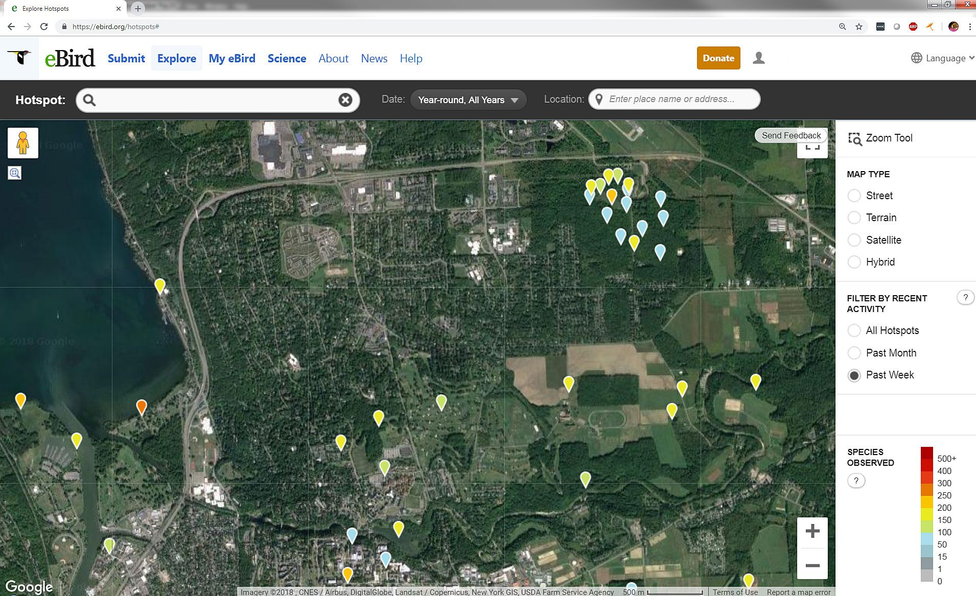 "Looking for eBird Hotspots in Ithaca, New York, reveals a handful around the Cornell Lab of Ornithology (cluster in the upper right of the map). Find these eBirding tools and more under the ""Explore"" tab at eBird.org"