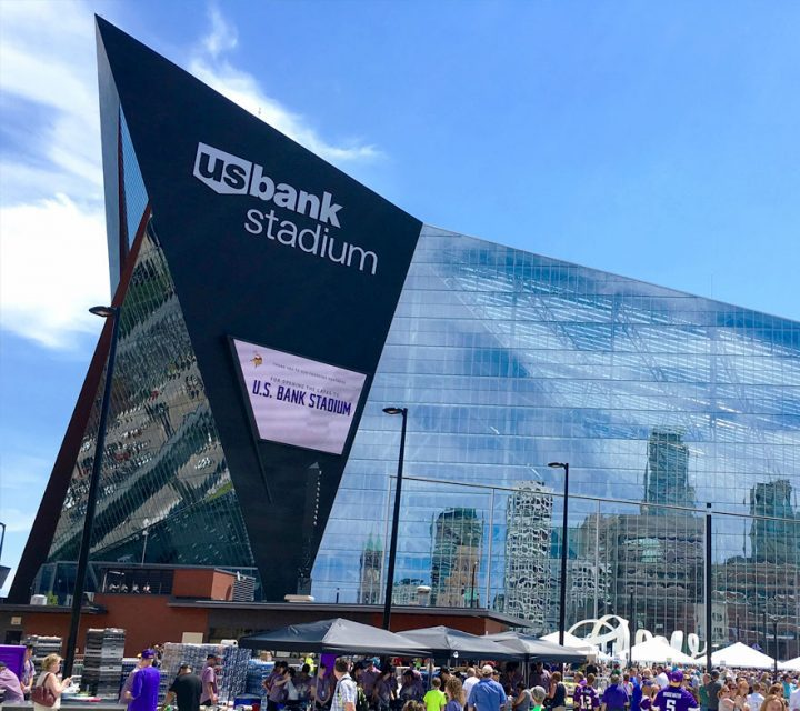 The U.S. Bank Stadium in Minneapolis, on the other hand, sports a massive see-through glass facade that poses a significant bird-collision threat right in the heart of the Mississippi River Flyway. U.S. Bank Stadium courtesy of WikiCommons.